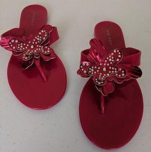 Nine West Hot Pink Flowered Flip Flop Sandals